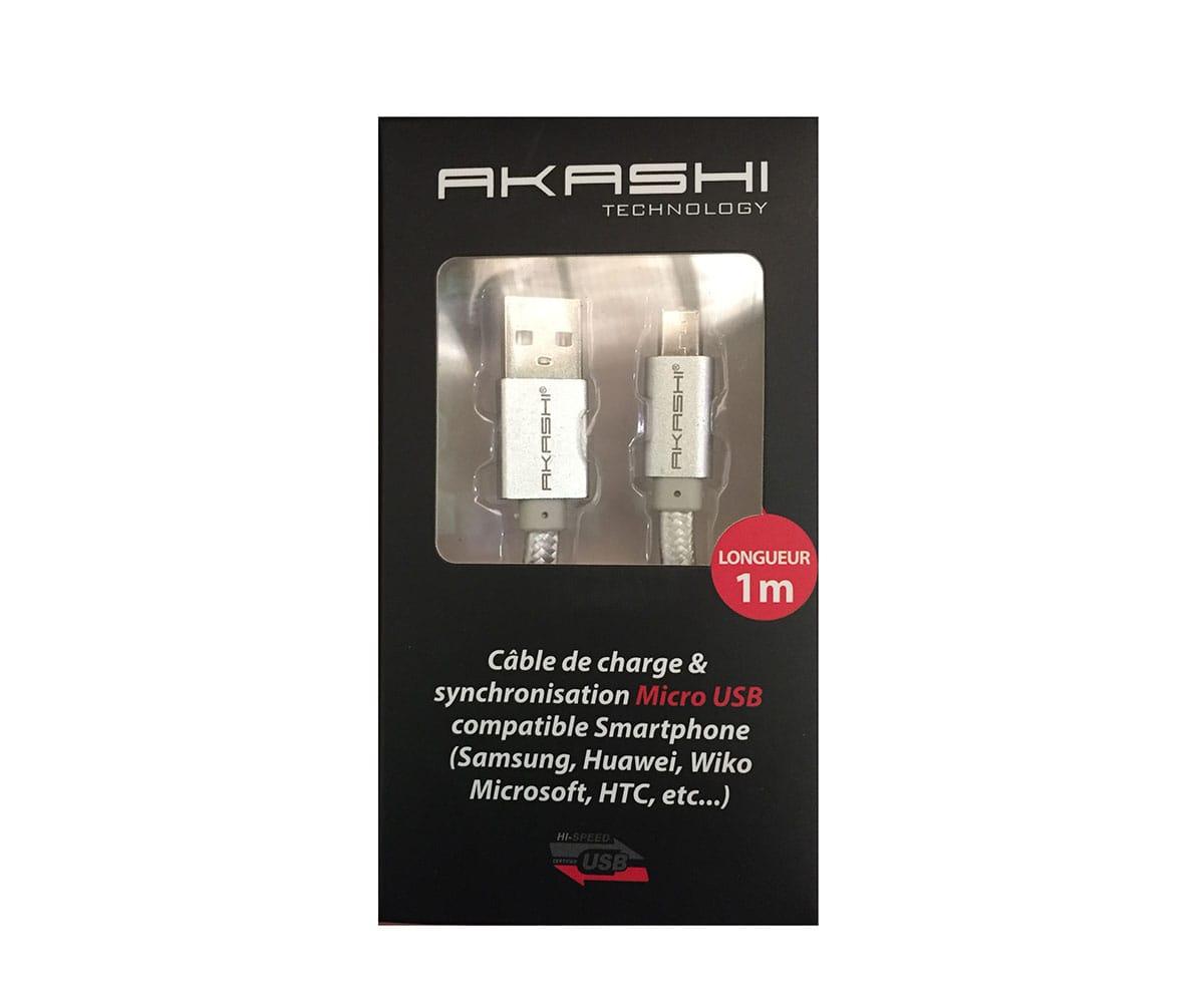 AKASHI CABLE DATOS MICRO USB UNIVERSAL 1M PLATA