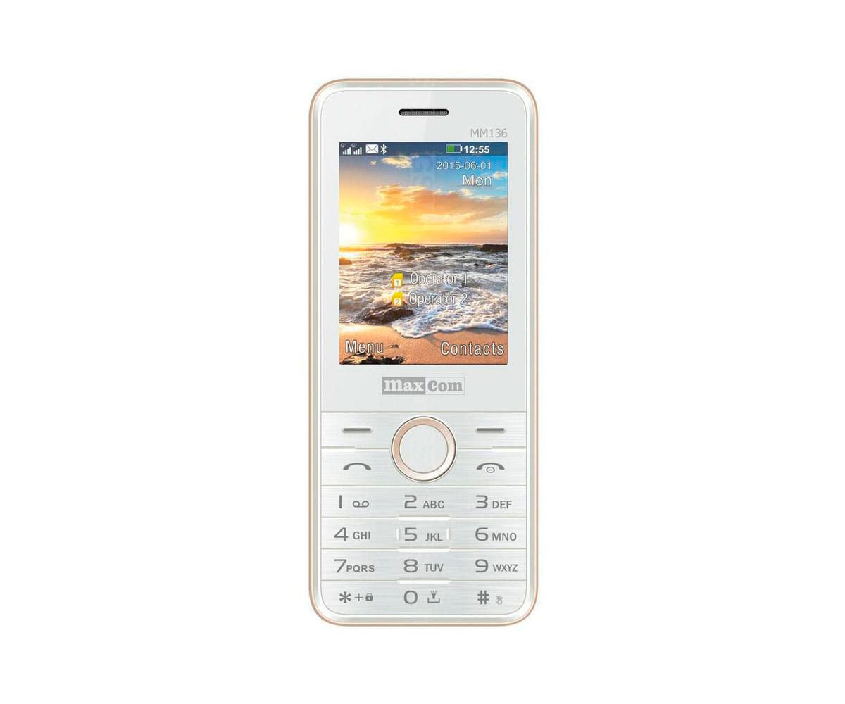 MAXCOM MM136 BLANCO CHAMPÁN MÓVIL DUAL SIM 2.4 BLUETOOTH