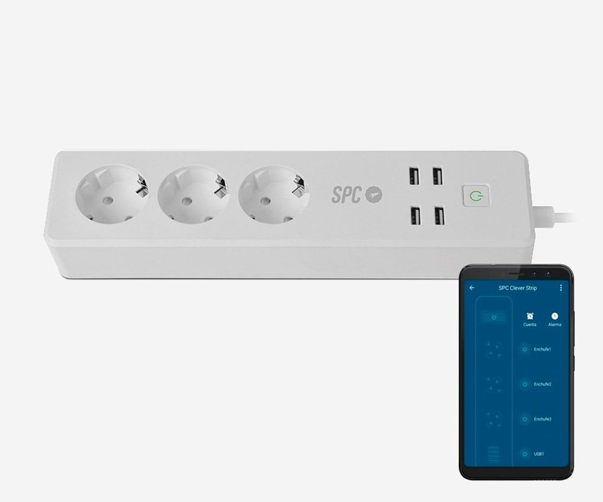 SPC 6202B ENCHUFE INTELIGENTE POR WIFI TEMPORIZADOR CON 3 SCHUKOS Y 4 USB-A - 6202B