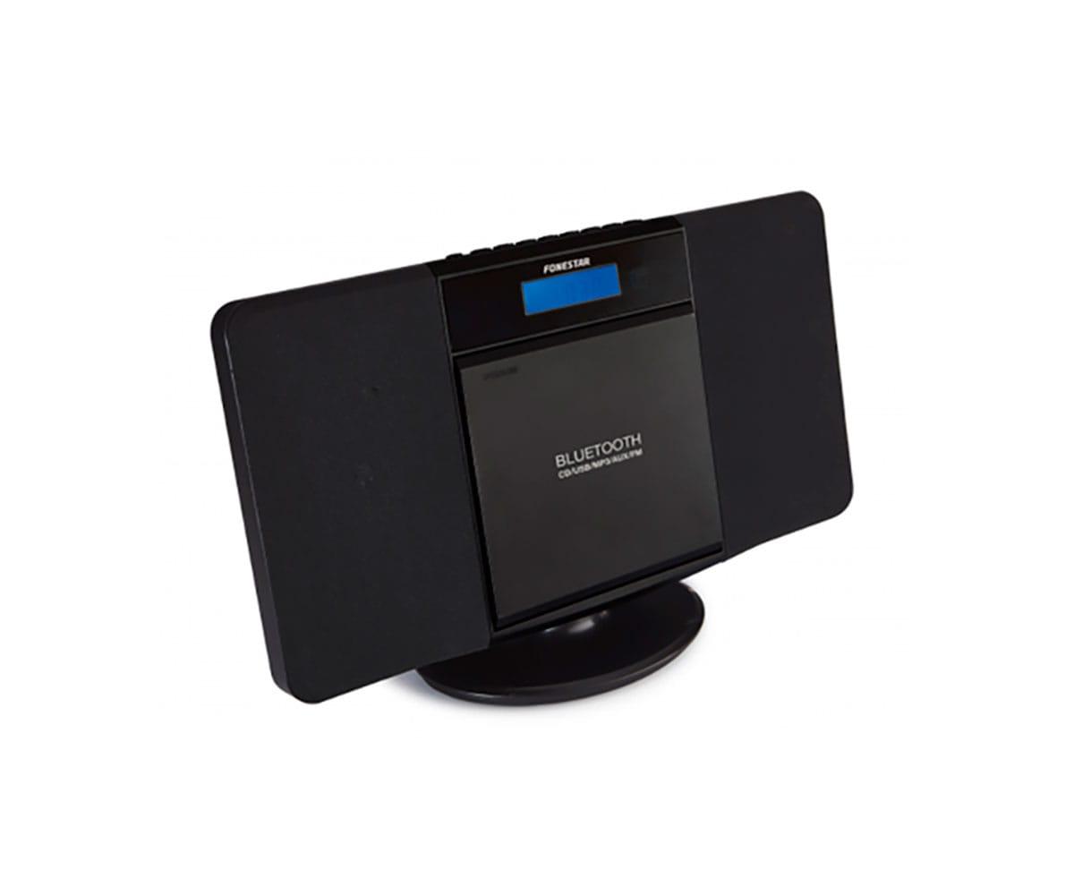 FONESTAR FLAT NEGRO MICROCADENA HI-FI 6W BLUETOOTH CD USB MP3 ENTRADA AUX RADIO FM INCLUYE MANDO A D
