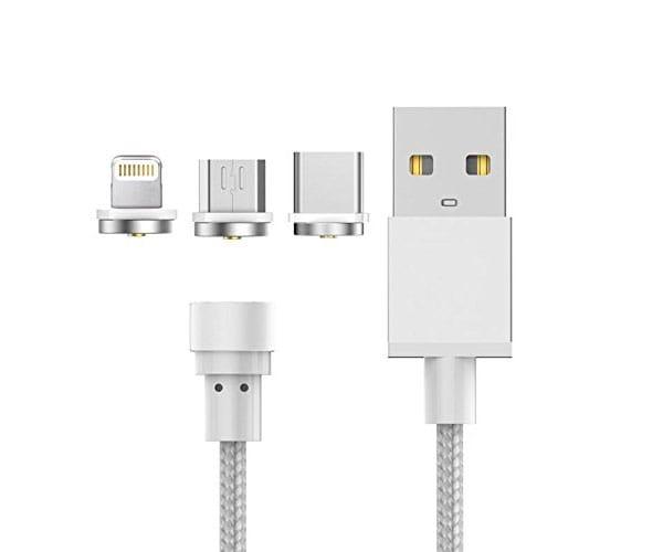 X-ONE CMU1000 PLATA CABLE MAGNÉTICO 3 EN 1 USB 2.0 A LIGHTNING + USB TIPO C + MICRO USB - CMU1000 PLATA