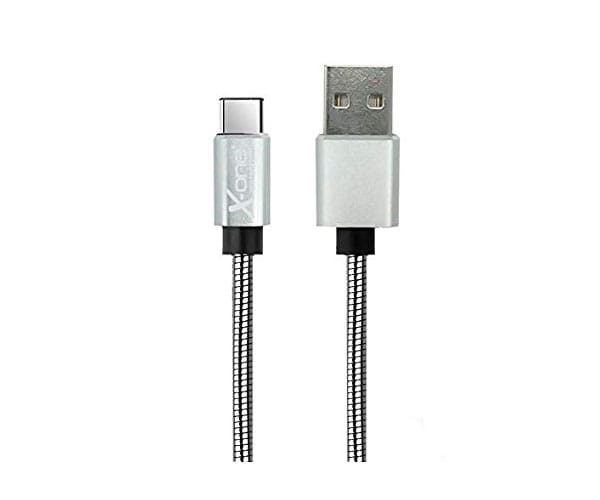 X-ONE CMC1000 PLATA CABLE TRENZADO METAL CON PUERTO USB TIPO C A USB 2.0 TIPO A