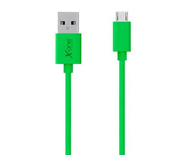 X-ONE CPM1000 VERDE CABLE CONECTOR PLANO CON PUERTO MICRO USB A USB 2.0 TIPO A