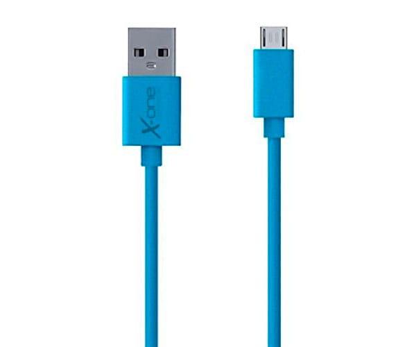 X-ONE CPM1000 AZUL CABLE CONECTOR PLANO CON PUERTO MICRO USB A USB 2.0 TIPO A - CPM1000 AZUL