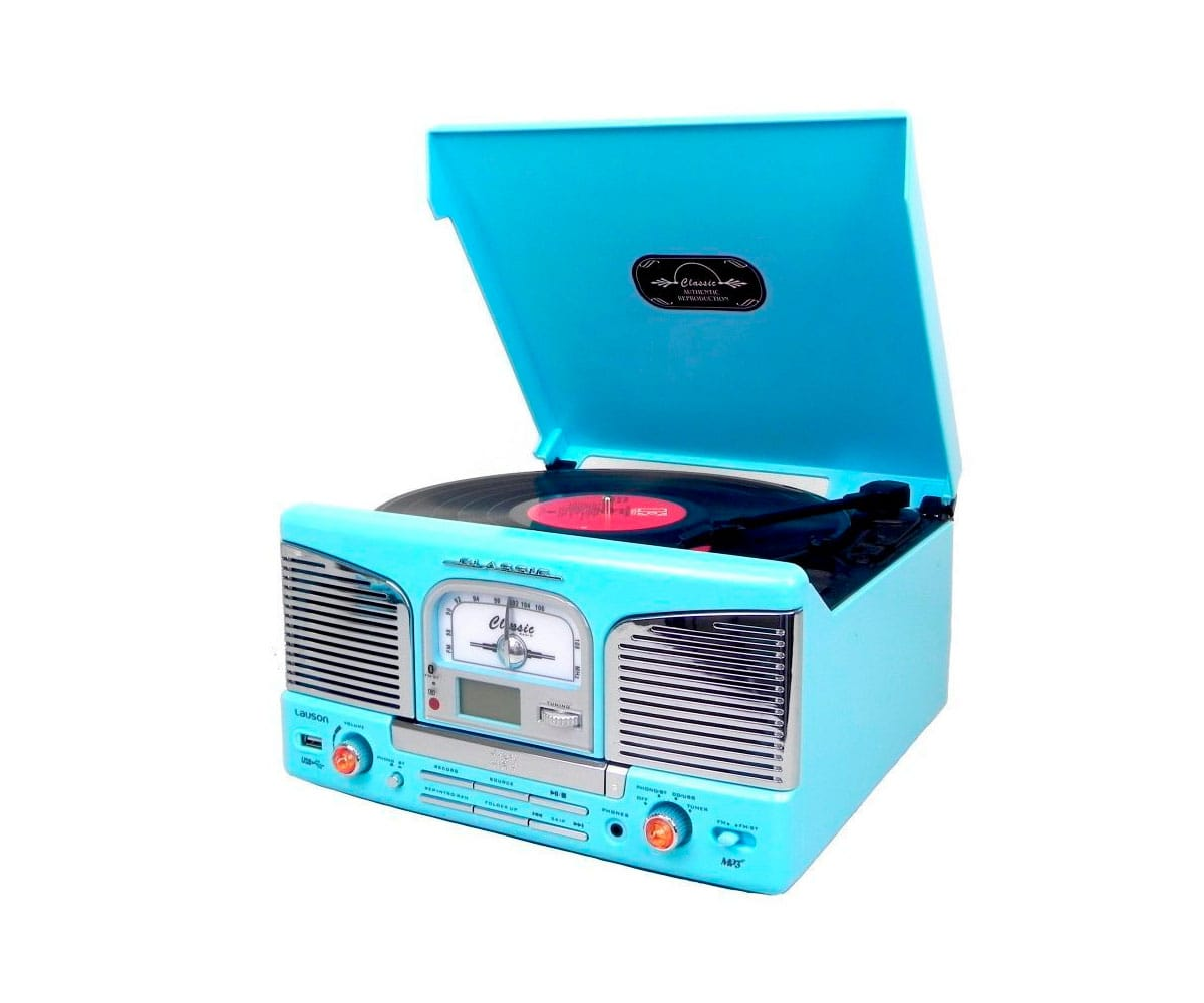 LAUSON CL149 AZUL TOCADISCOS RETRO CD BLUETOOTH