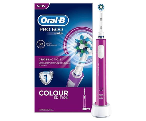 BRAUN ORAL-B PRO 600 CROSSACTION MORADO CEPILLO DE DIENTES ELÉCTRICO RECARGABLE