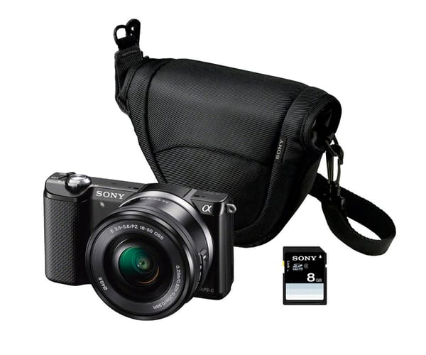 SONY ALPHA 5000 KIT NEGRA ILCE5000L CÁMARA CON LENTES INTERCAMBIABLES + FUNDA + SD 8GB