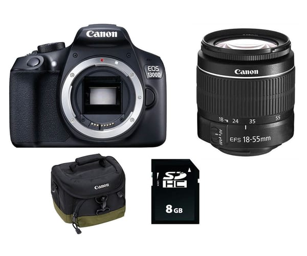 CANON EOS 1300D GET STARTED ACCESSORY KIT RÉFLEX CON OBJETIVO EF-S 18-55mm III + FUNDA + 8GB SD