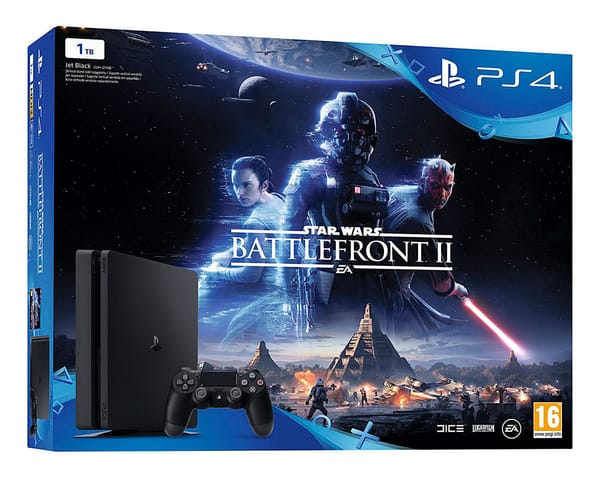 SONY PLAYSTATION 4 SLIM 1 TB + STAR WARS BATTLEFRONT II + MANDO DUALSHOCK4