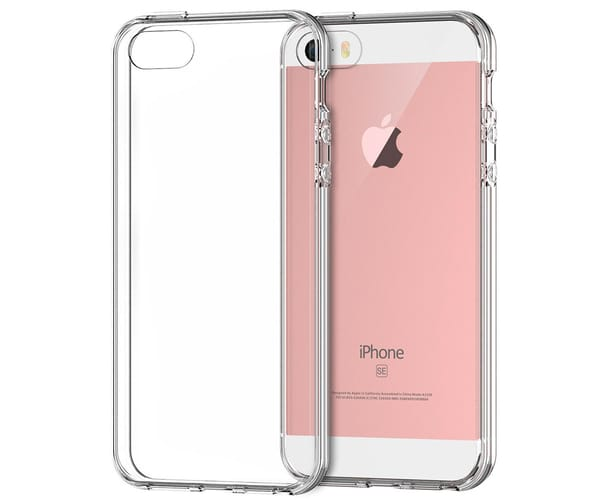 JC CARCASA TRANSPARENTE CON BORDE PLATA APPLE IPHONE 5/5S/SE
