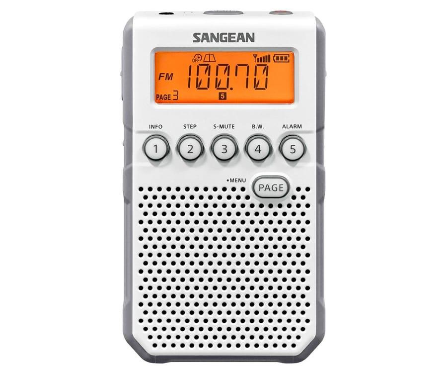 SANGEAN DT-800 BLANCO RADIO DIGITAL BOLSILLO AM FM CON RDS PANTALLA LCD BATERÍA RECARGABLE