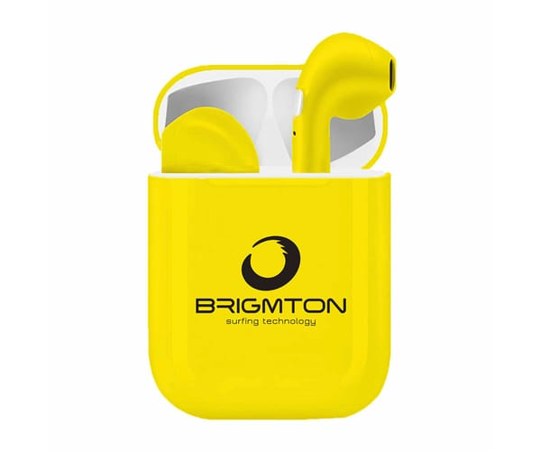 BRIGMTON BML-18Y AMARILLO AURICULARES INALÁMBRICOS MANOS LIBRES BLUETOOTH CON MICRÓFONO Y ESTUCHE BATERÍA