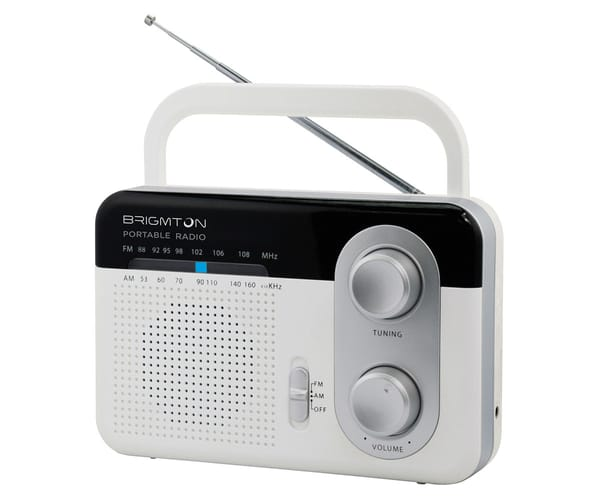 BRIGMTON BT-250-B BLANCO RADIO AM/FM ANALÓGICA PORTÁTIL A RED O PILAS