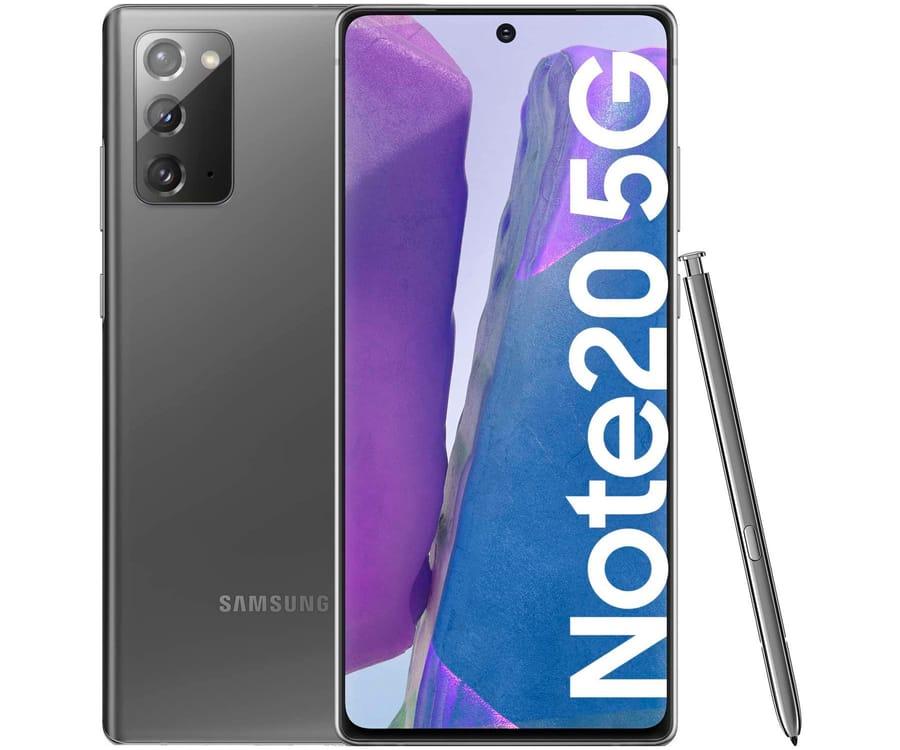 SAMSUNG GALAXY NOTE 20 GRIS MÓVIL DUAL SIM 5G 6.7'' SUPER AMOLED FHD+ OCTACORE 256GB 12GB RAM TRICAM 64MP SELFIES 10MP
