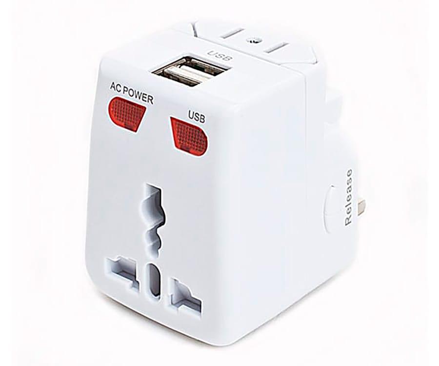 AKASHI ADAPTADOR UNIVERSAL VIAJE 2 PUERTOS USB