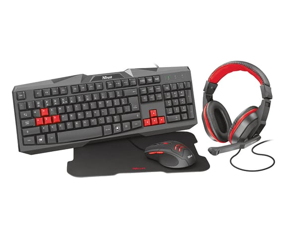 TRUST ZIVA 4 EN 1 GAMING BUNDLE NEGRO ROJO EQUIPO GAMING PARA PC
