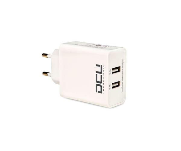 DCU CARGADOR DE PARED BLANCO CON ENTRADA DE 2 PUERTOS USB 5V/4.8A