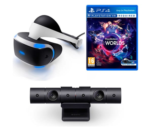 SONY PLAYSTATION PACK DE PS VR GAFAS DE REALIDAD VIRTUAL + PS CAMERA CÁMARA V2.0 + VR WORLDS 5 JUEGOS