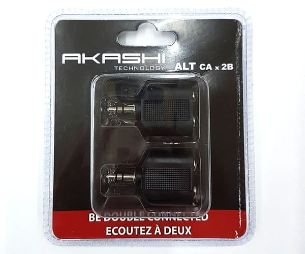 AKASHI 2x ADAPTADOR DE AUDIO JACK 3.5mm MACHO a DOBLE JACK 3.5mm HEMBRA ESTÉREO